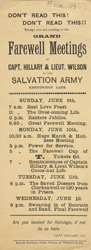 Advert For A Meeting Of The Salvation Army